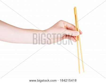 chopsticks with hand on a white background isolated