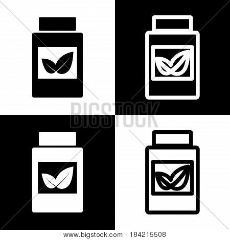 Supplements container sign. Vector. Black and white icons and line icon on chess board.
