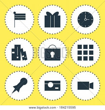 Vector Illustration Of 9 Online Icons. Editable Pack Of Gift, Map Marker, Thumbtack And Other Elements.