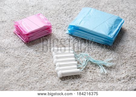 Menstrual Tampons Isolated On Bath Towel