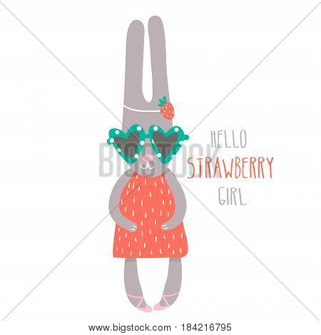Cute girl rabbit hand drawn vector illustration. Cartoon bunny character isolated. Can be used for baby fashion print design kids wear poster greeting and invitation card.