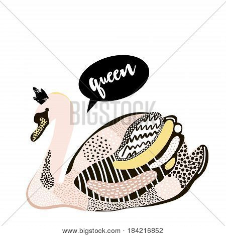 Artistic swan with crown design. Creative swan print isolated. It can be used for fashion apparel bag home decor. Vector illustration