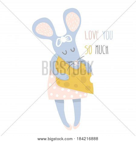Cute girl mouse with cheese hand drawn vector illustration. Cartoon mouse character isolated. Can be used for baby fashion print design kids wear poster greeting and invitation card.