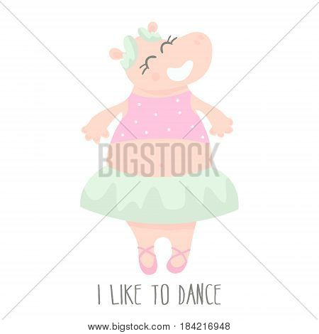 Cute baby hippo ballerina dancing cartoon hand drawn vector illustration. Cartoon Hippo character isolated. Can be used for baby fashion print design kids wear poster greeting and invitation card.