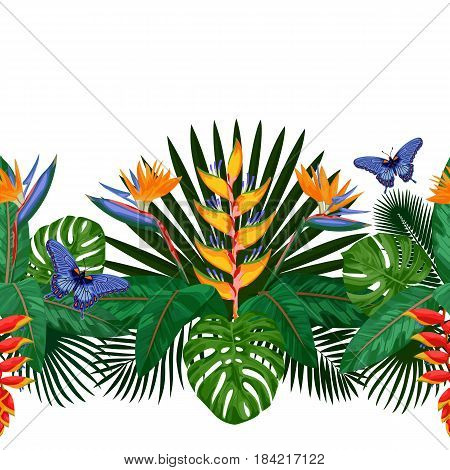 Tropical seamless border with flowers, leaves and butterfly. Tropic floral composition with place for text on white background. Jungle textile print.
