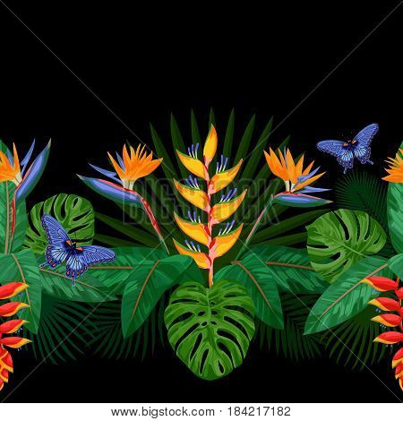 Tropical seamless border with flowers, leaves and butterfly. Tropic floral composition with place for text on black background. Jungle textile print.