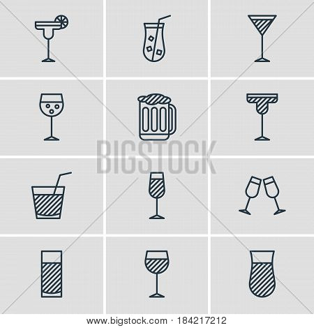 Vector Illustration Of 12 Beverage Icons. Editable Pack Of Aqua, Goblet, Draught And Other Elements.