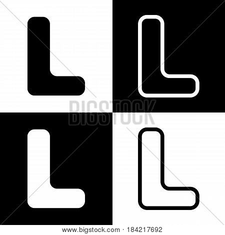 Letter L sign design template element. Vector. Black and white icons and line icon on chess board.