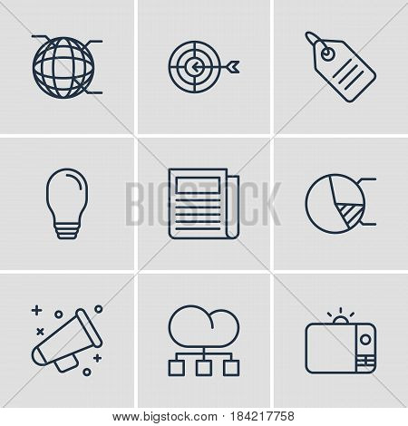 Vector Illustration Of 9 Marketing Icons. Editable Pack Of Network, Daily Press, Television And Other Elements.