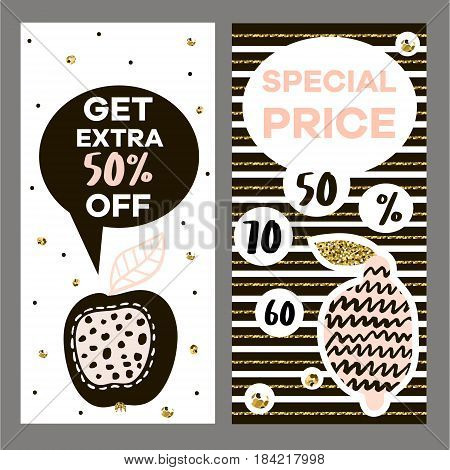 Discont flyer template in modern style. Two vector creative banner for clearancesalediscountsspesial offersetc.