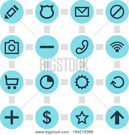 Vector Illustration Of 16 User Icons. Editable Pack Of Cogwheel, Conservation, Asterisk And Other Elements.