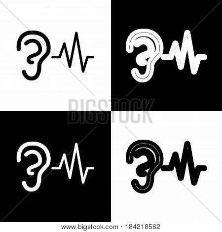 Ear hearing sound sign. Vector. Black and white icons and line icon on chess board.
