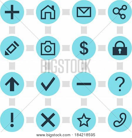 Vector Illustration Of 16 Member Icons. Editable Pack Of Publish  , Handset, Minus Elements.
