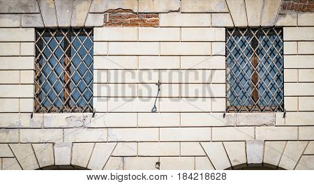 Grate of a window of an ancient monastery.