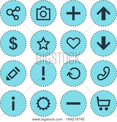 Vector Illustration Of 16 Interface Icons. Editable Pack Of Snapshot, Top, Plus And Other Elements.
