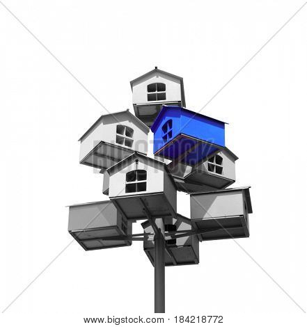 Many nesting boxes of gray color and single nesting box of blue color. Isolated on white background