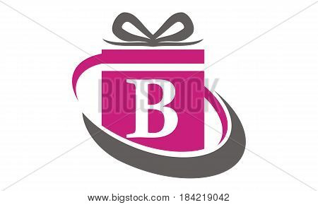 This Image describe about Gift Box Ribbon Letter B