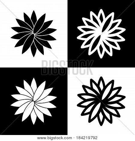 Flower sign. Vector. Black and white icons and line icon on chess board.