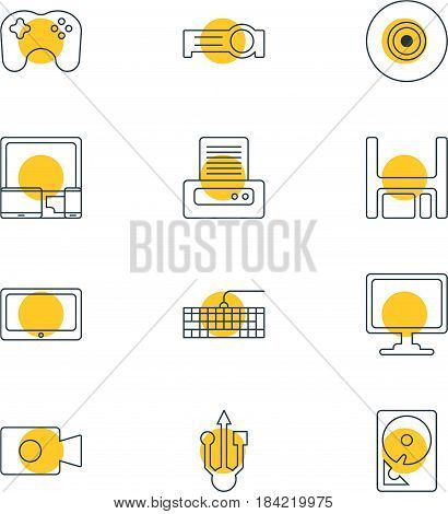 Vector Illustration Of 12 Laptop Icons. Editable Pack Of Qwerty Board, Movie Cam, Screen And Other Elements.