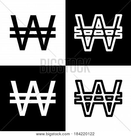 Won sign. Vector. Black and white icons and line icon on chess board.