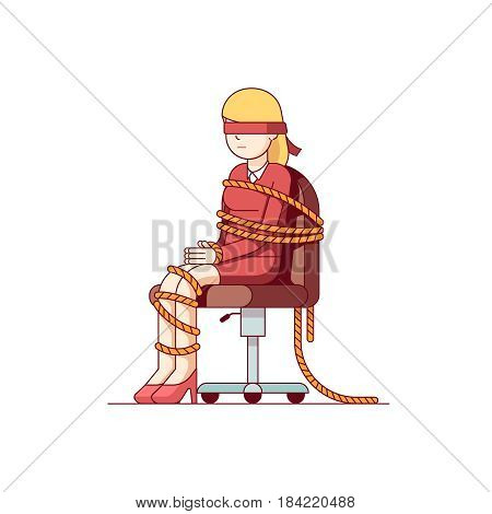 Woman businessman with tied hands and foots sitting on an office chair. As a metaphor of professional challenges, difficulties in a career. Modern flat style thin line colorful vector illustration.