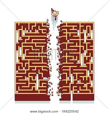 Businessman running through the maze. Business metaphor of overcoming difficulties and finding non-standard solutions. Modern flat style thin line vector illustration isolated on white background.