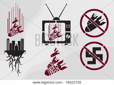 No war stencil in propaganda style