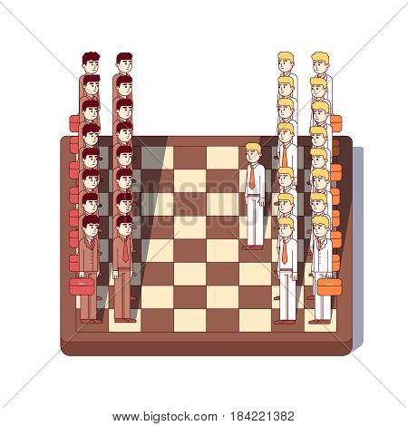 Businessmen lawyers standing on giant chessboard as chess figures. Business metaphor of strategic negotiation or corporate lawsuit. Modern flat style thin line vector illustration isolated on white.