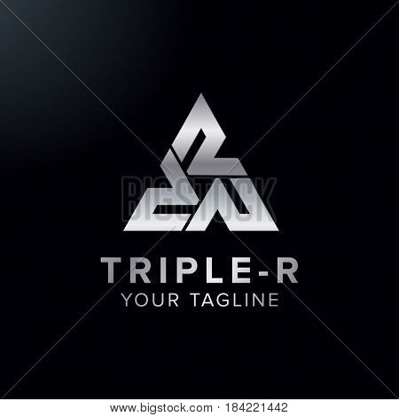 Creative letter Triple R logo concept design with triangle chrome color modern and professional feel. Very nice for brand identity .