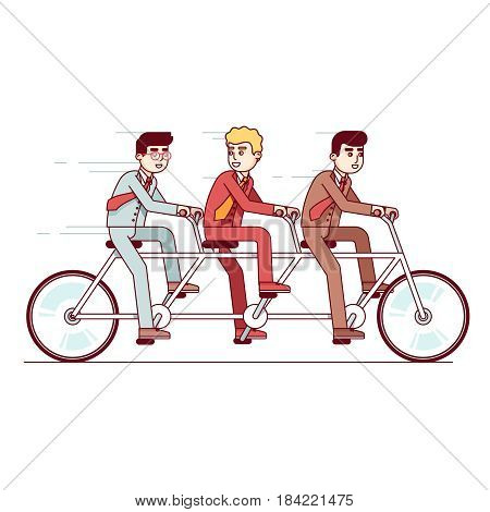 Businesspeople team riding fast on a three-person steering tandem bike. Business metaphor of successful teamwork, competitive spirit. Modern flat style thin line vector illustration isolated on white.
