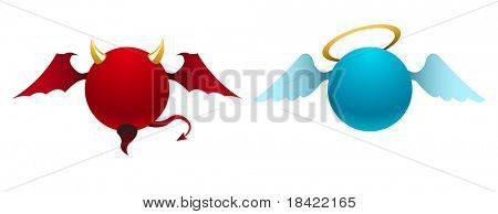 Vector simple devil and angel icons