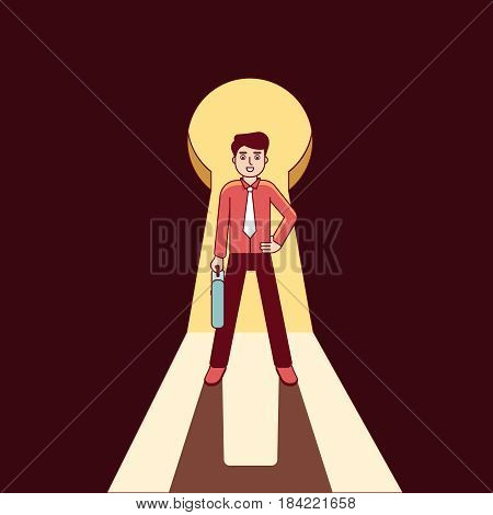 Businessman standing in giant keyhole shaped doorway. Key person business metaphor. Modern flat style thin line vector illustration isolated on white background.
