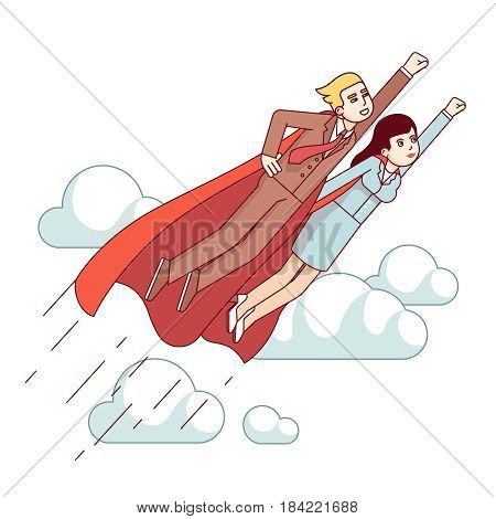 Super hero business man and woman in red capes flying fast in the sky with clenched fists. Metaphor of leadership and achievement. Modern flat style thin line vector illustration isolated on white.
