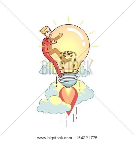 Businessman flying up on bright big idea lamp. Entrepreneur invention and innovation leadership business metaphor. Modern flat style thin line vector illustration isolated on white background.