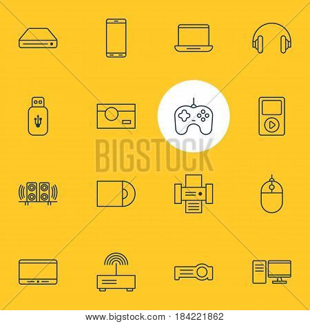Vector Illustration Of 16 Accessory Icons. Editable Pack Of Computer, Dvd Drive, Usb Card And Other Elements.