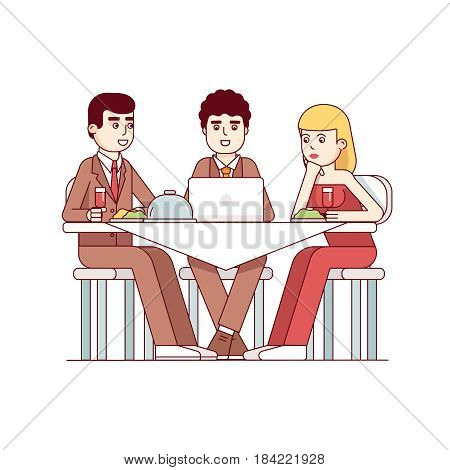 Business client meeting at restaurant table. Partners team having informal dinner discussing matters and drinking wine. Modern flat style thin line vector illustration isolated on white background.