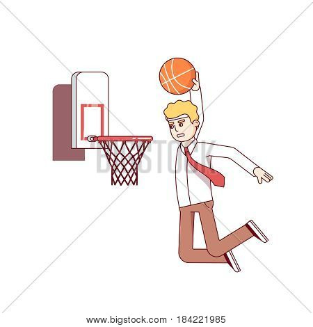 Focused businessman performing basketball hoop slam dunk. Business man achieving goals and success metaphor. Modern flat style thin line vector illustration isolated on white background.