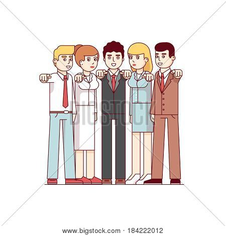 Standing business men and women pointing at viewer with index fingers. I want you gesture. Metaphor of hr management. Modern flat style thin line vector illustration isolated on white background.
