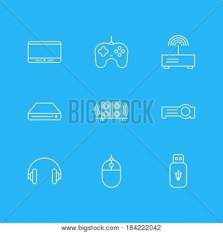 Vector Illustration Of 9 Technology Icons. Editable Pack Of Floodlight, Memory Storage, Loudspeaker And Other Elements.
