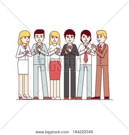 Standing business men and women group applauding to viewer. Clapping hands gesture. Team success appreciation. Modern flat style thin line vector illustration isolated on white background.