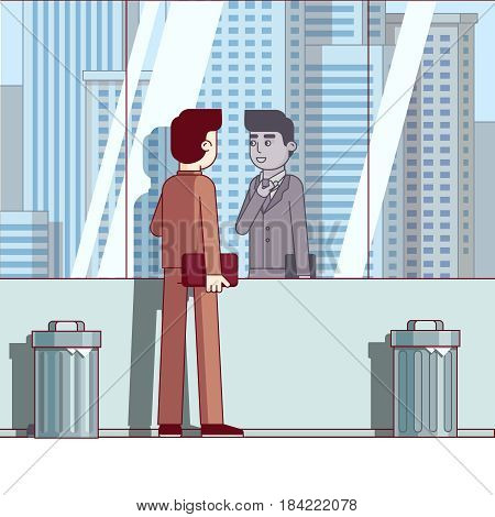 Businessman adjusting tie standing looking at his reflection in large downtown skyscraper window. Business metaphor of corporate career. Modern flat style thin line vector isolated illustration.