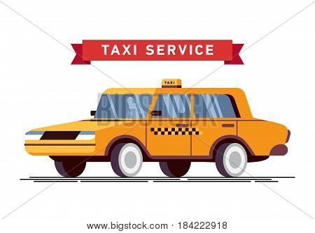 Vector illustration taxi yellow car. Commercial transport contemporary modern yellow taxi cab.