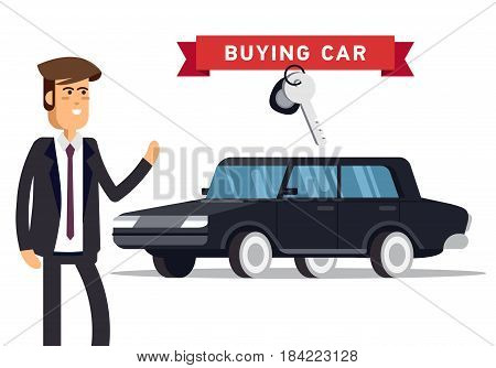 Design concept of choice car and buying. Vector cool illustration in flat style. Vector detailed character buyer and black automobile.