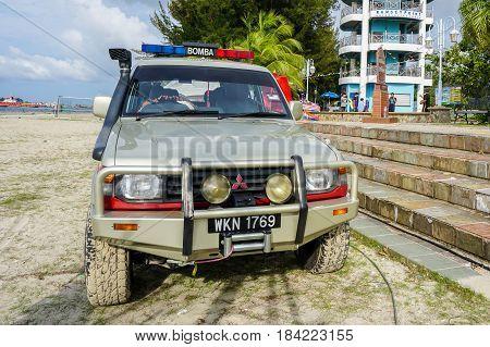 Labuan,Malaysia-Apr 29,2017:The Mitsubishi Pajero fire & rescue department of Malaysia parked in the beach during sea sport festival in Labuan island,Malaysia on 29th April 2017.
