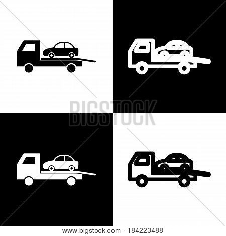 Tow car evacuation sign. Vector. Black and white icons and line icon on chess board.