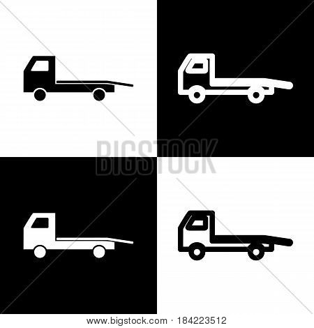 Service of evacuation sign. Wrecking car side. Car evacuator. Vehicle towing. Vector. Black and white icons and line icon on chess board.