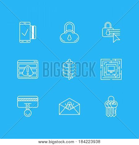 Vector Illustration Of 9 Internet Security Icons. Editable Pack Of Encoder, System Security, Corrupted Mail And Other Elements.