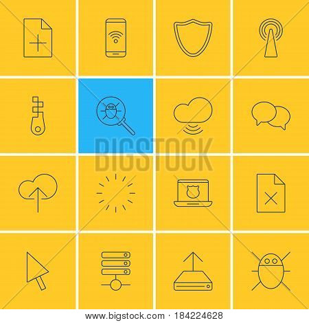 Vector Illustration Of 16 Network Icons. Editable Pack Of Bug, Delete Data, Document Adding And Other Elements.