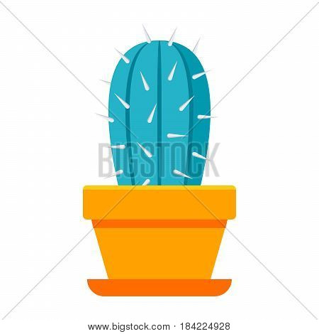 Botany concept with cactus in flower pot, vector illustration in flat style