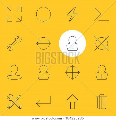 Vector Illustration Of 16 User Interface Icons. Editable Pack Of Register Account, Bolt, Garbage And Other Elements.